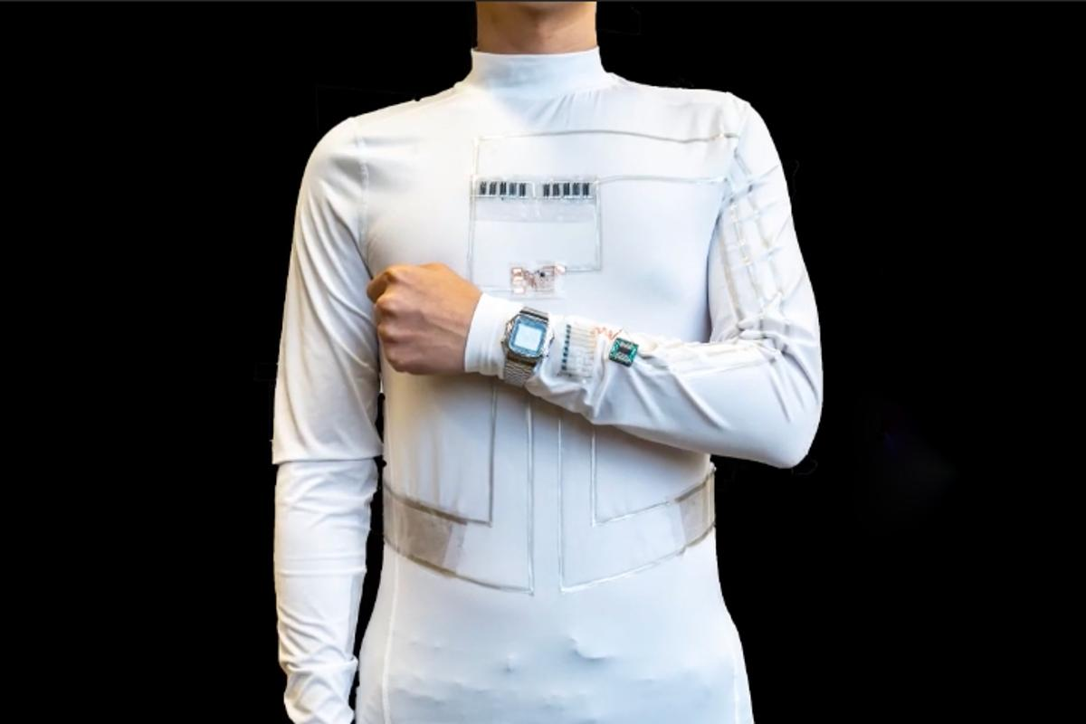 The wearable microgrid shirt can power an LCD wristwatch, among other devices