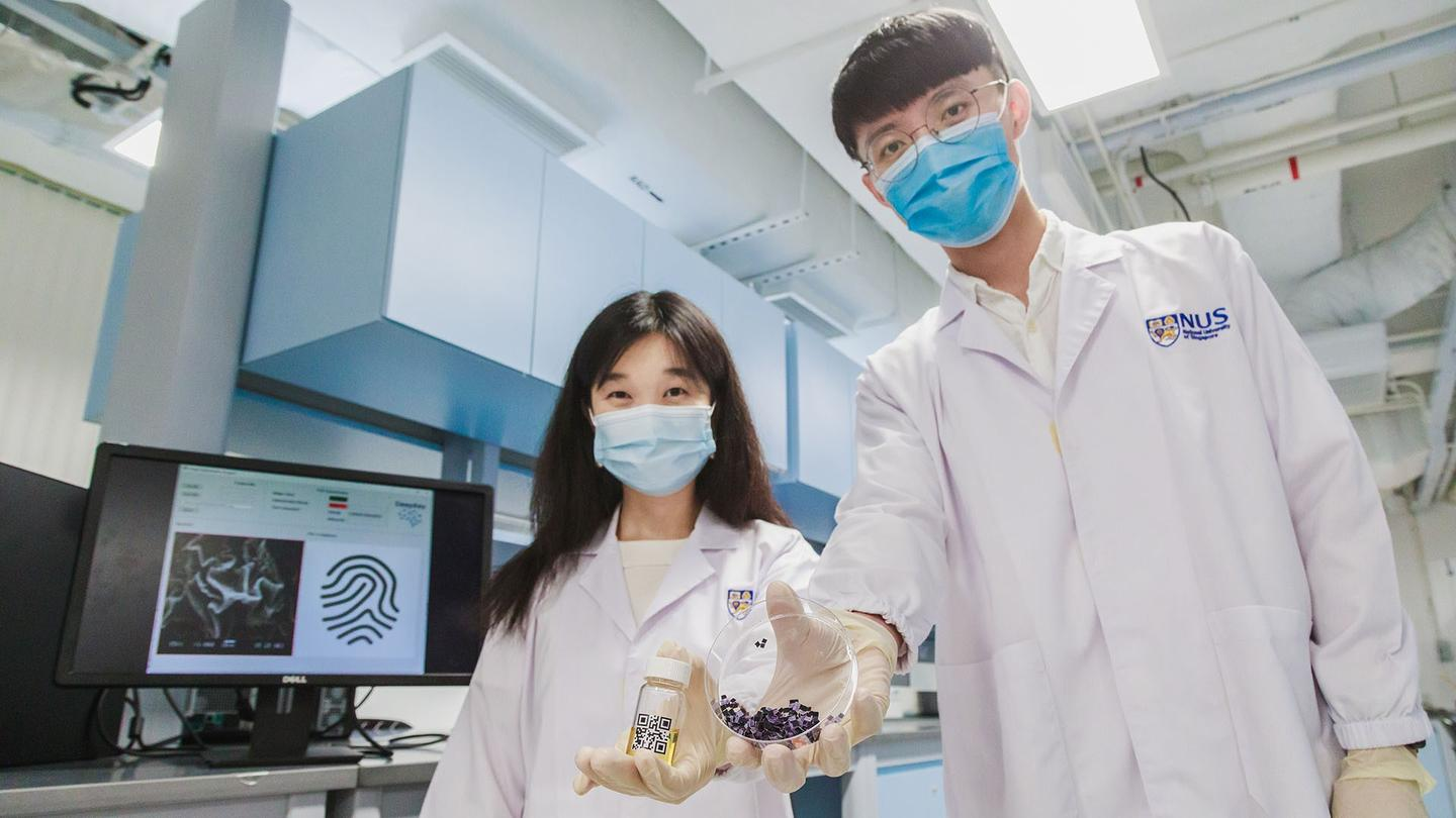 Researchers Wang Xiaonan (left) and Dr Jing Lin have developed a new anti-counterfeiting technology based on Physically Unclonable Function patterns