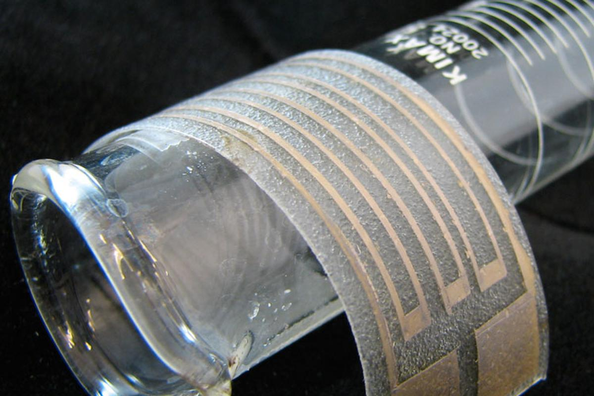 The particle-free silver ink is here applied to a thin, stretchy plastic film to make a flexible silver electrode