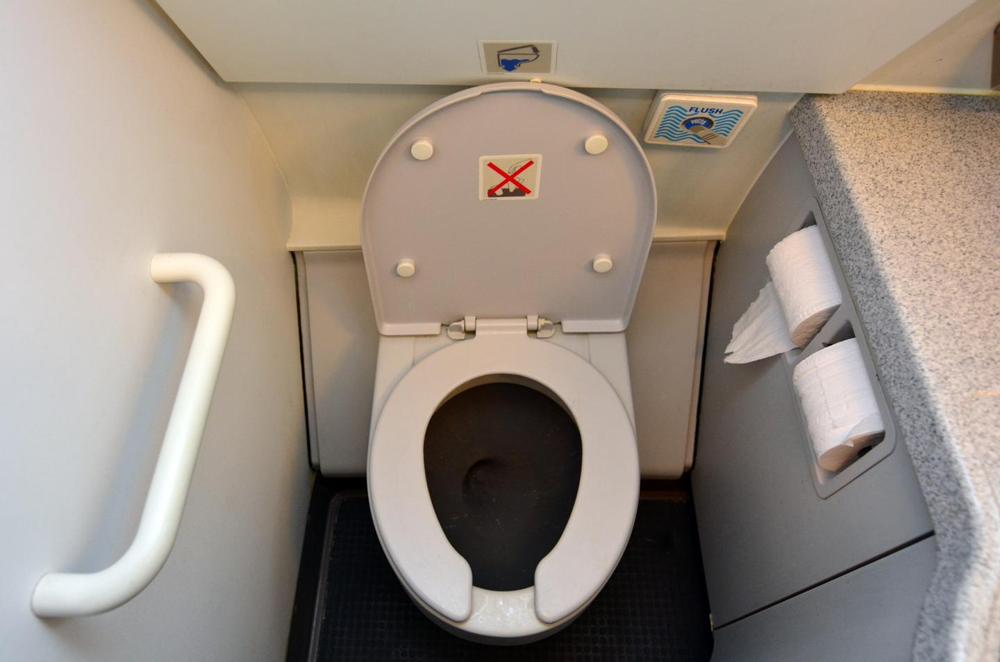 The system could be retrofitted to existing airplane toilets, such as this