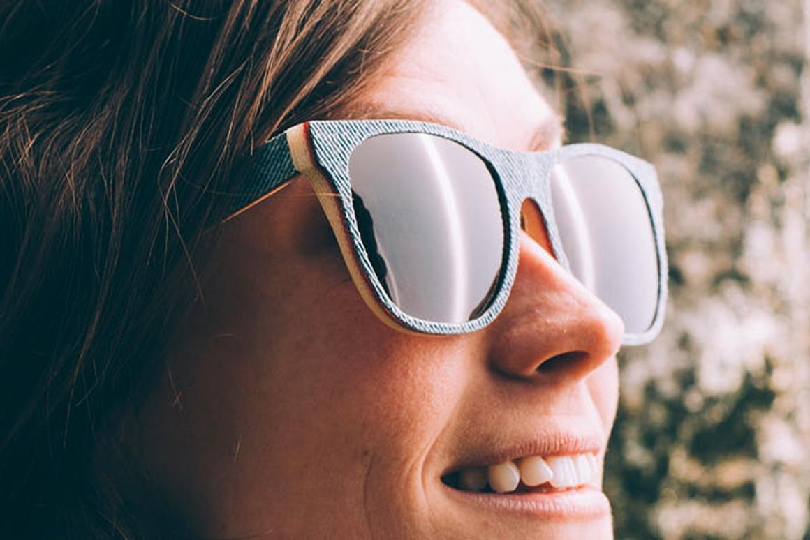 Solid Denim sunglasses are made from resin-bonded layers of denim