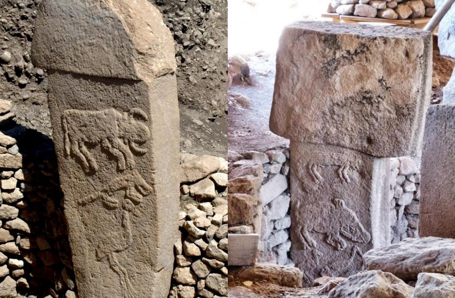 Stone pillars at Göbekli Tepe, adorned with animals that archaeologists believe indicate a specific date and tell of a cataclysm