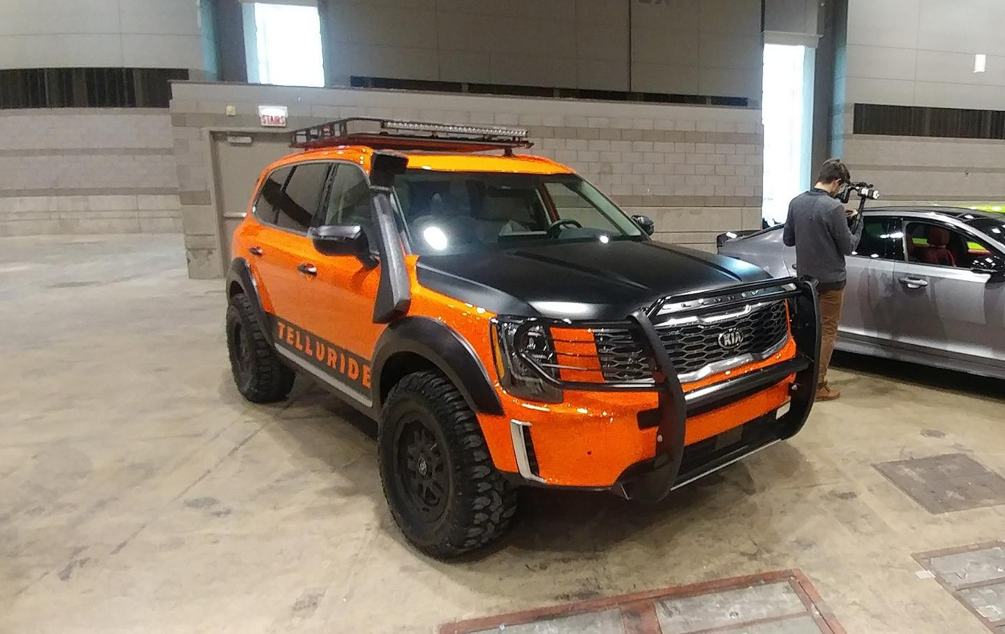 Kia brought several concepts for the new Telluride SUV, including this snorkeled orange beast that emitted a satisfying growl when started