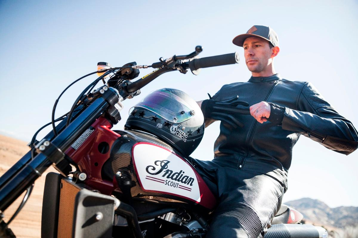 Travis Pastrana aboard the Indian Scout FTR750, a flat track racer that was never designed to fly
