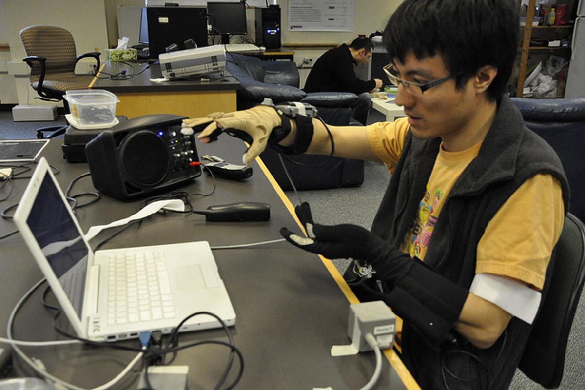 "An experimental new gesture-to-voice synthesizer could allow people without the power of speech to ""talk"" with their hands (Photo: Johnty Wang, UBC)"