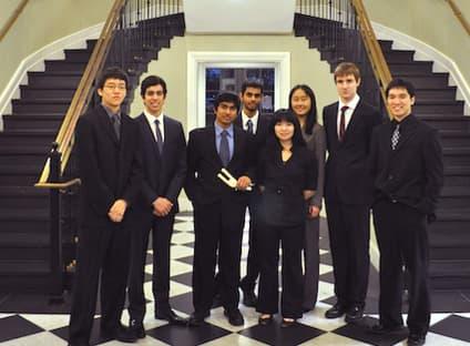 Team FastStitch, from left: Ang Tu, Luis Herrera, Anvesh Annadanam, Sohail Zahid, Leslie Myint, Haley Huang, Stephen Van Kooten, and Daniel Peng