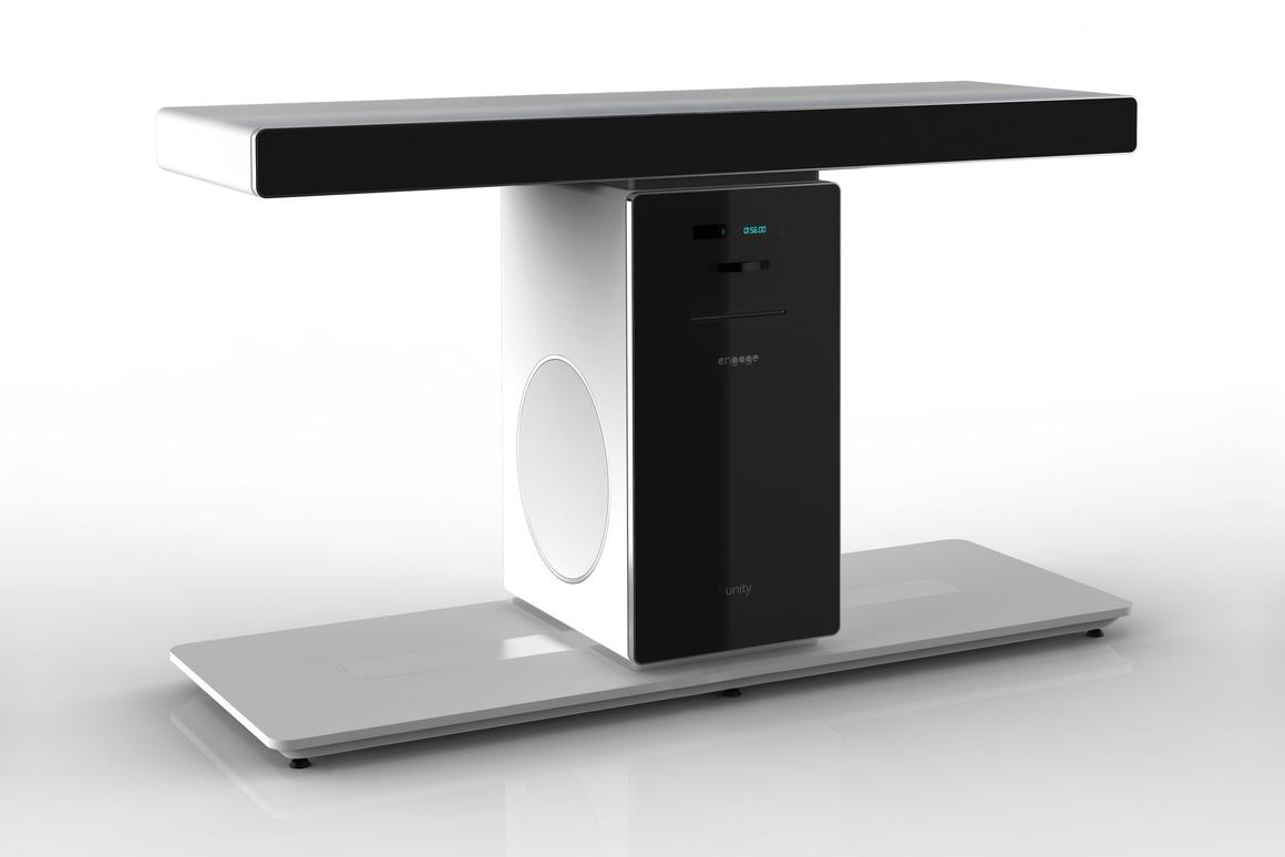 """The """"tShape"""" Unity Home Theater System is a TV stand that packs a 5.1 speaker system, amplifier and Blu-ray player"""