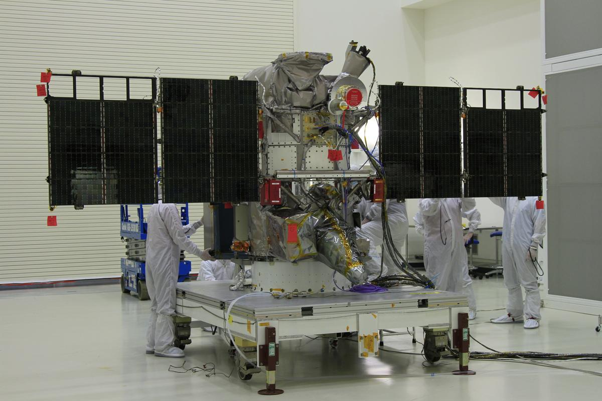 DSCOVR, the NOAA's Earth observation and space weather satellite, being readied for launch (Photo: NASA/Ben Smegelsky)
