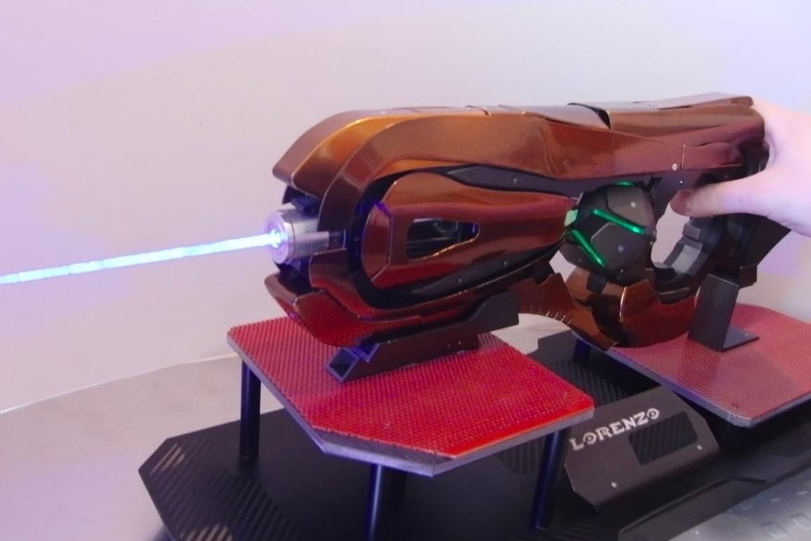 The gun features a5-watt blue laser
