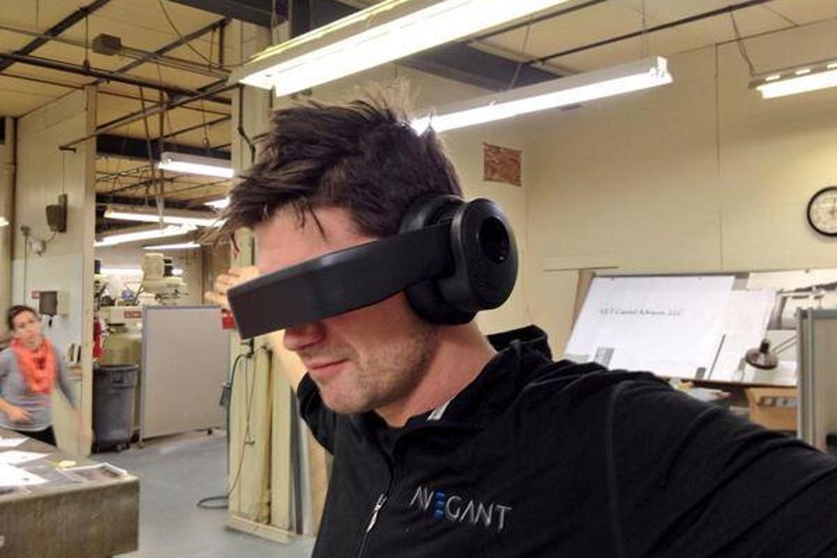 Avegant CTO Dr Allan Evans testing the latest Glyph design
