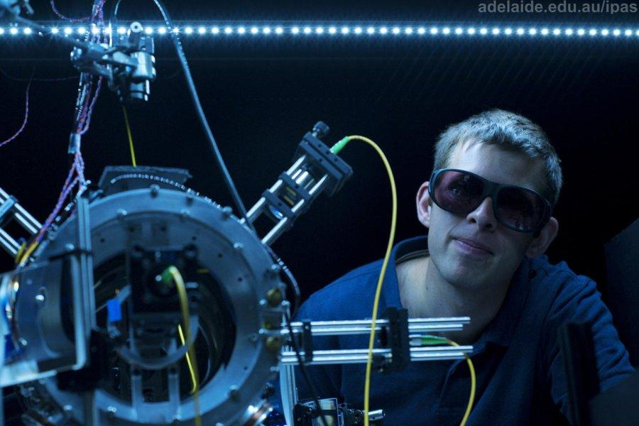 Lead researcher Philip Light with the chamber in which the tractor beams were created