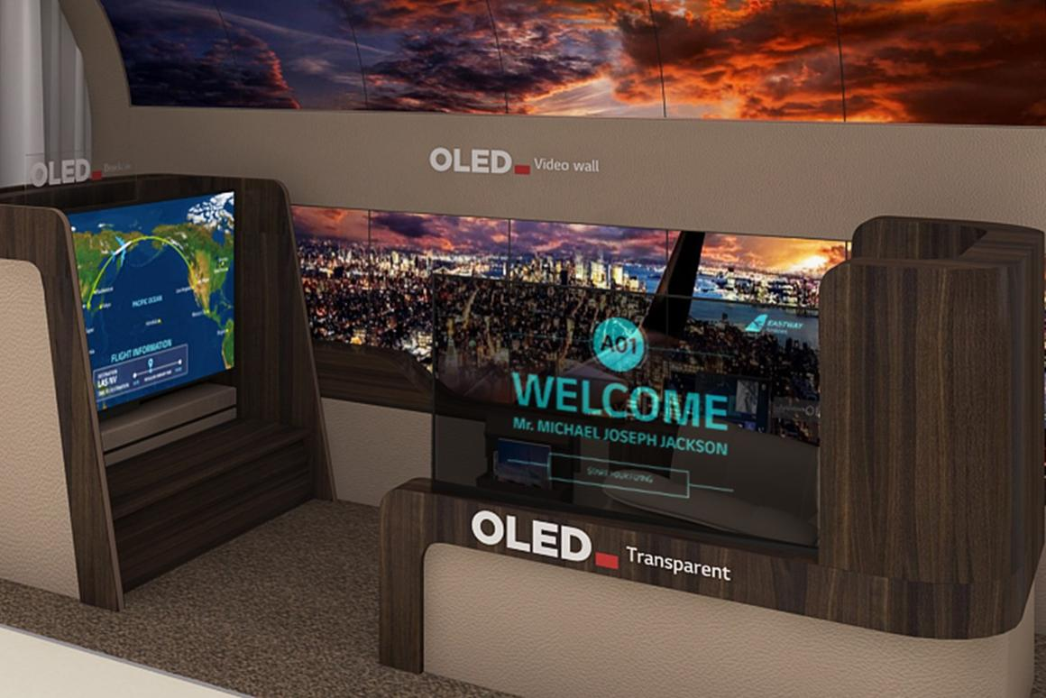 LG Display's vision for the aircraft cabin of the future includes an OLED wall and transparent partitions