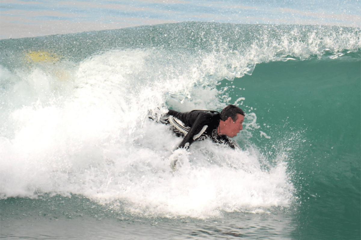 A WaveWrecker user in the surf