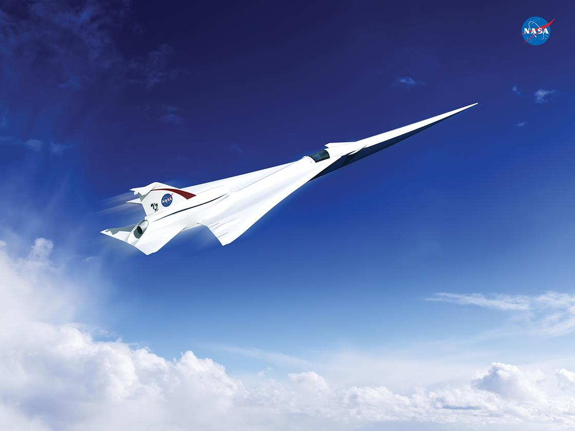 An artist's concept of a possible Low Boom Flight Demonstration Quiet Supersonic Transport (QueSST) X-plane design