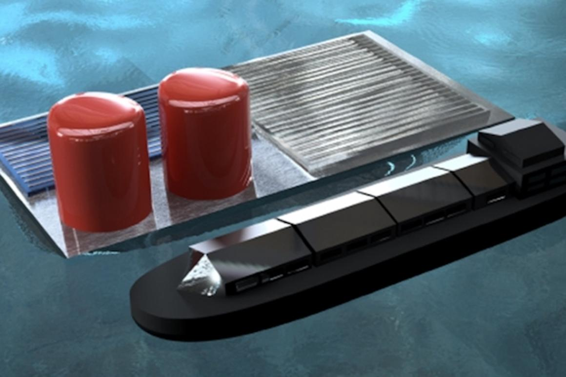 "A computer render of a large-scale ""floating solar rig,"" which captures sunlight through a photovoltaic cell and uses it to generate hydrogen through water electrolysis in the seawater it's floating on"