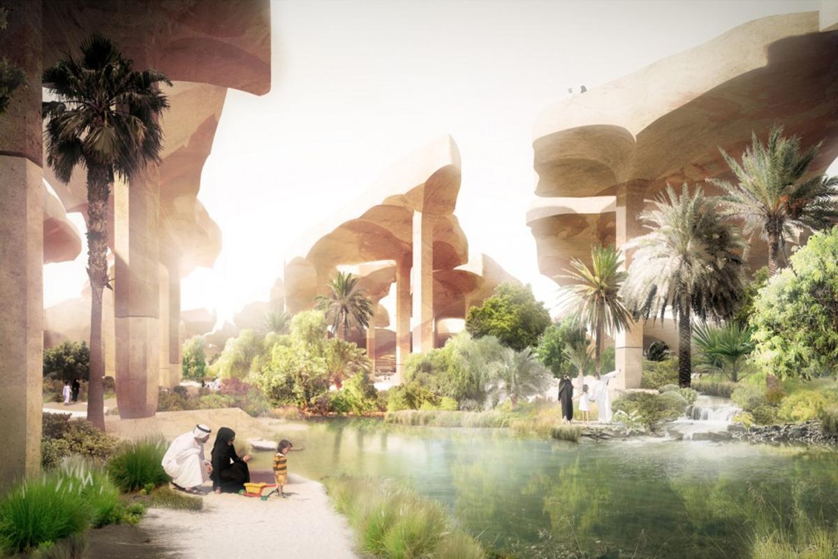 "Thomas Heatherwick has designed a ""sunken oasis"" public park for Abu Dhabi (image: Heatherwick Studio)"