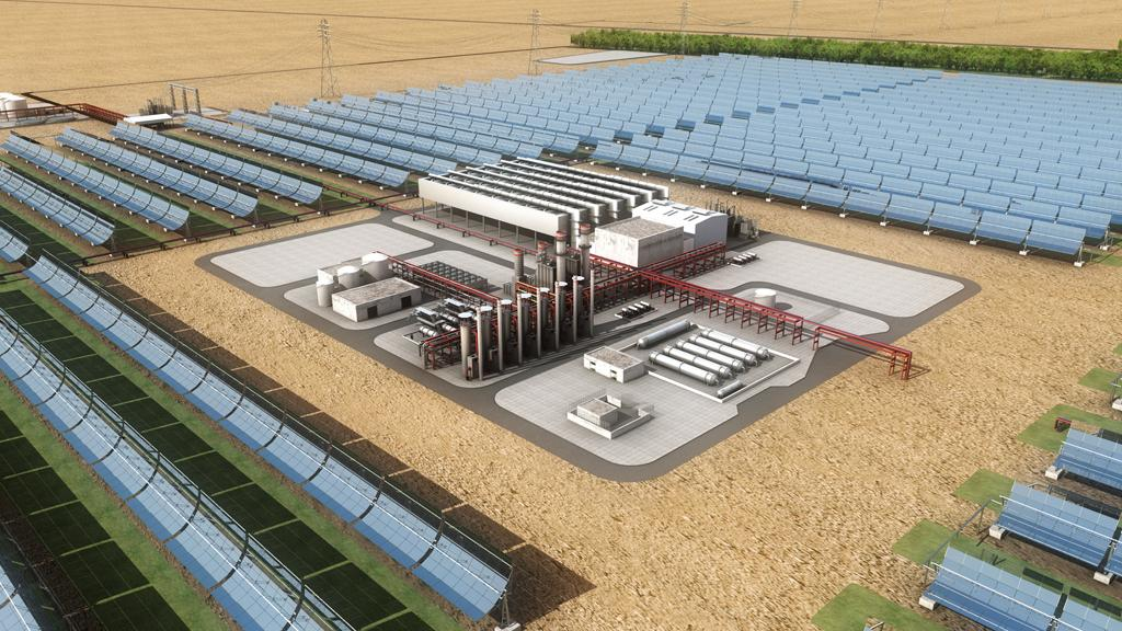 Rendering of the Shams 1 concentrated solar power plant