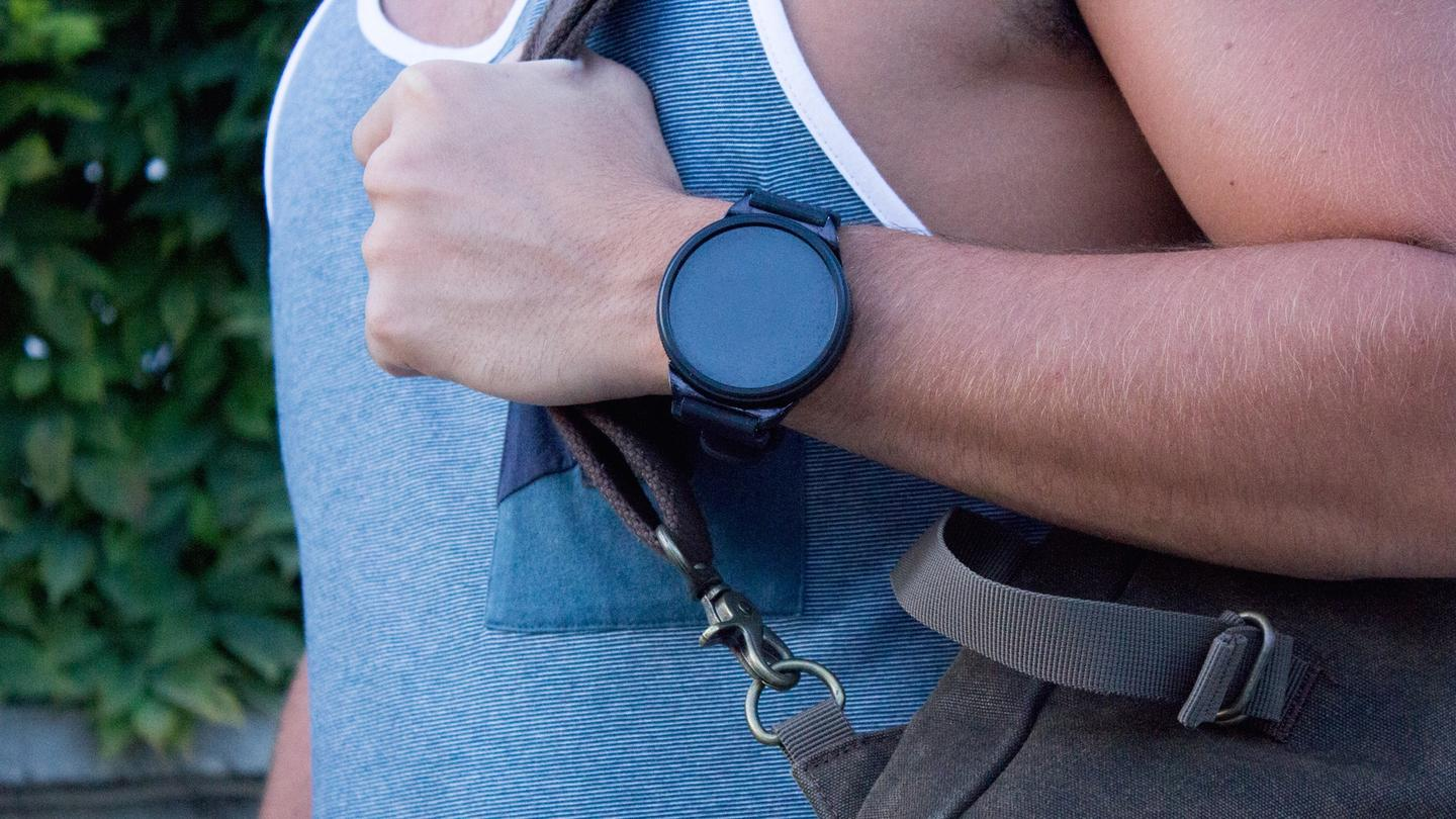 In watch mode, Shell simply sits docked to its cradle on your wrist