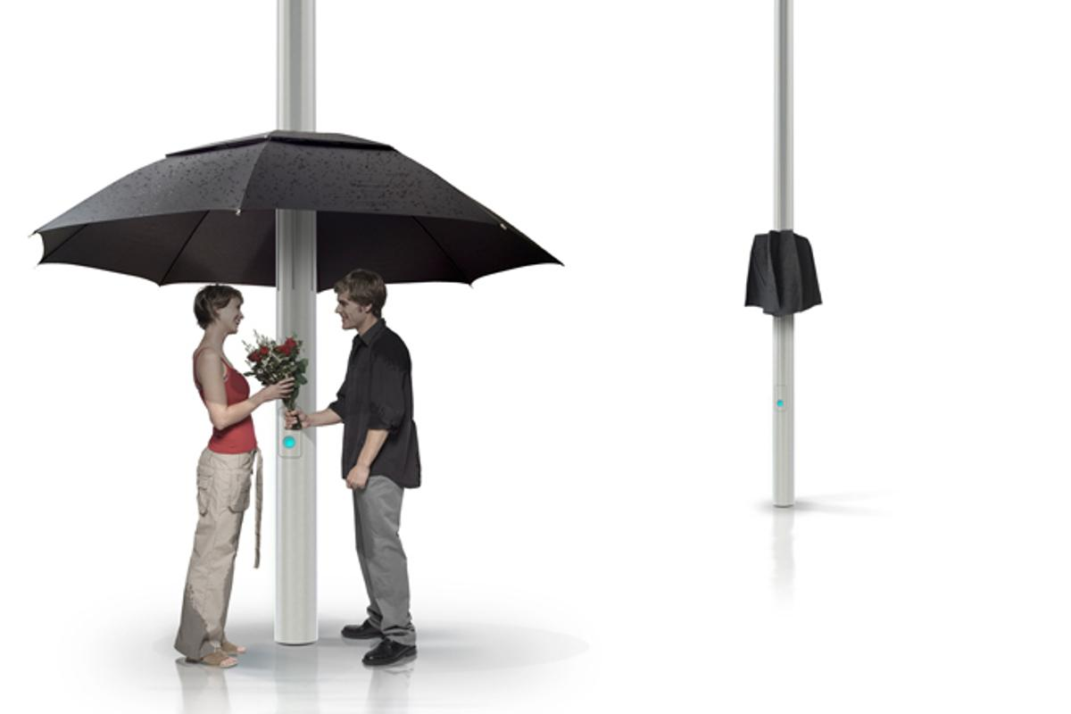 Sensors ensure the Lampbrella is deployed to offer pedestrians shelter whenever it starts raining