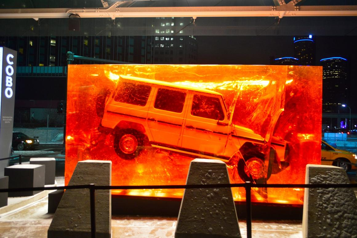 Celebrating the introduction of the all-new G-Class and the timelessness of Mercedes' rugged 4x4, the sculpture uses 44.4 tonnes of synthetic resin