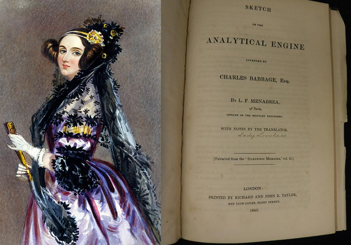 Ada Lovelace and the signed faceplate of the book