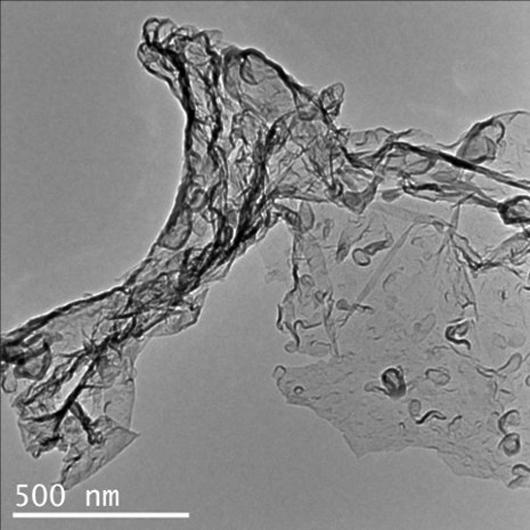 Transmission electron microscopy image of carbon nitride created by the reaction of carbon dioxide and Li3N