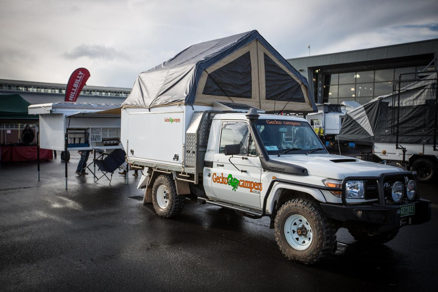 Gecko Campers shows truck-mounted and standalone flavors at the Australian 4x4 Outdoors Expo