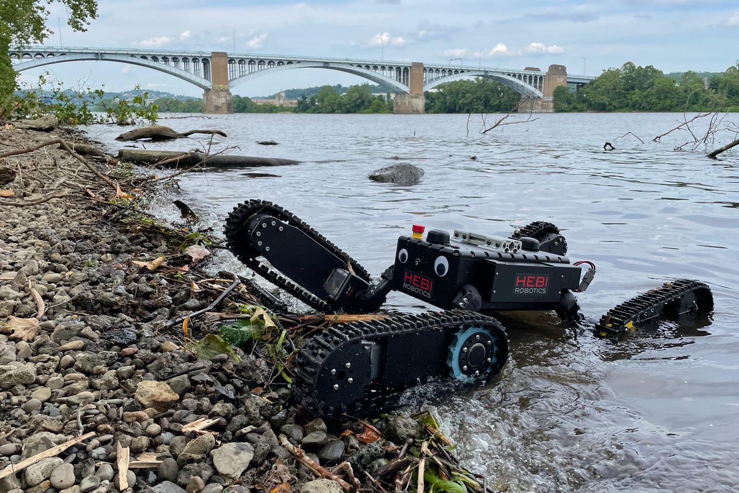The IP67-waterproof Tready robot emerges from the water (googly eyes not included)