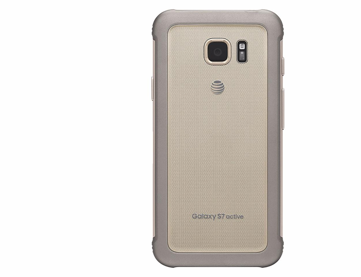"""Back of the """"Sandy Gold""""Galaxy S7 Active"""