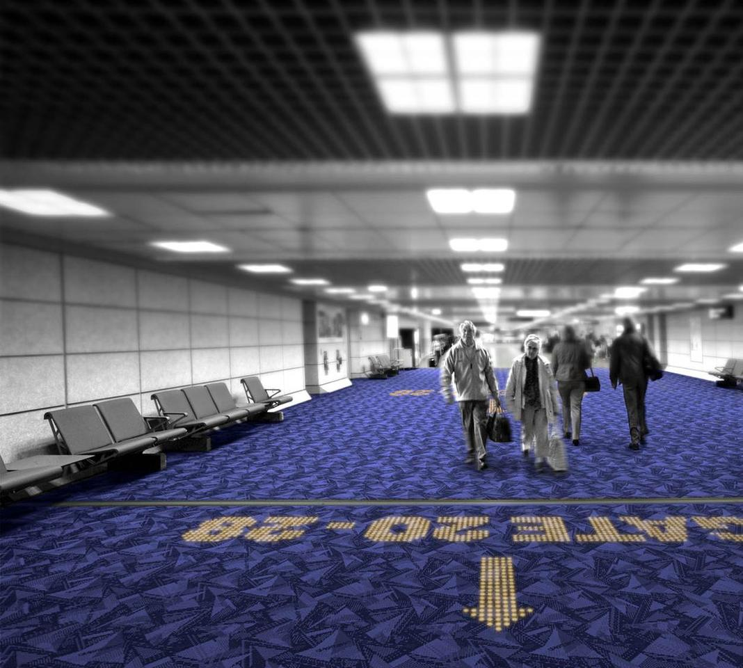 Philips recently partnered with Desso, a high-quality carpeting producer, to create a new type of light transmissive carpet embedded with LEDs that can be programmed to display important messages, directions, or other information