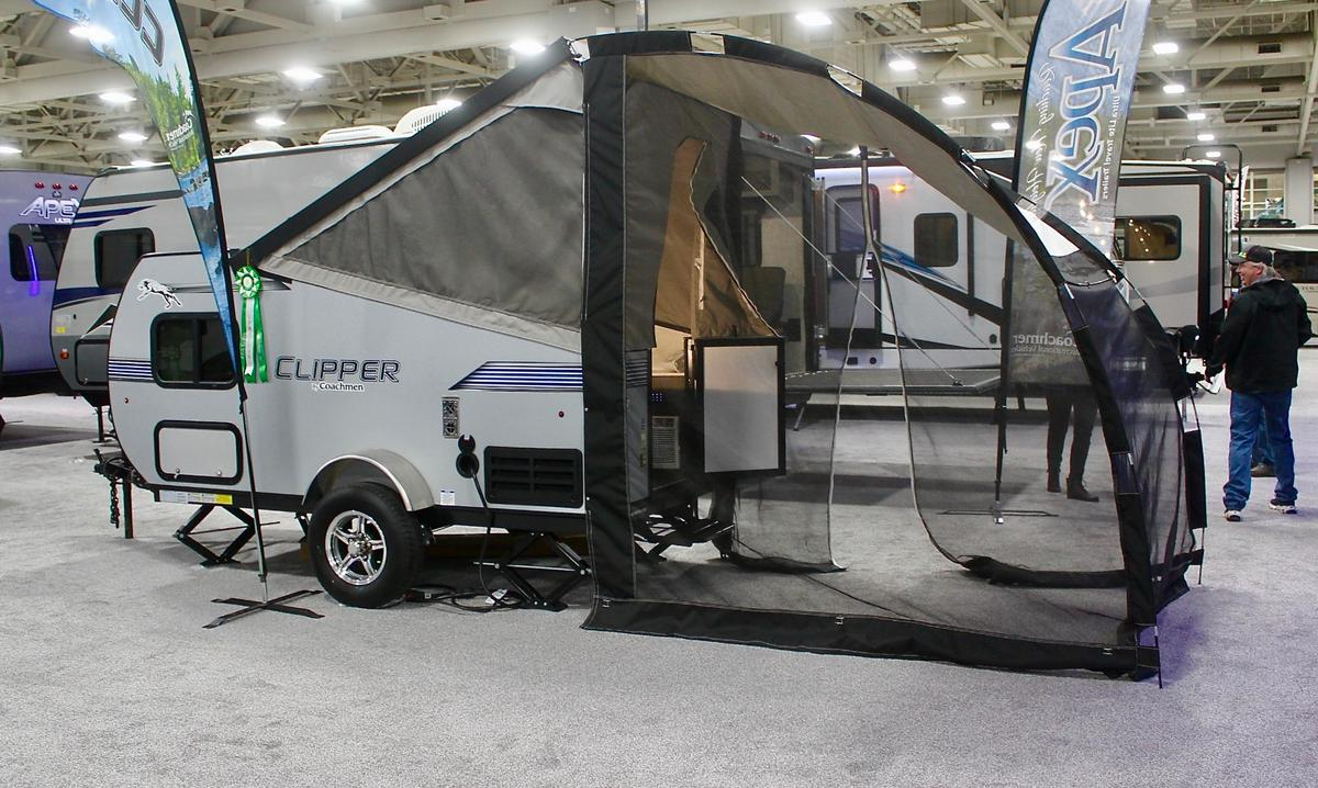 Small camping trailers are growing in popularity, and it's not just startup innovators that are selling them. Here, Coachmen, a motorhome/trailer brand of RV giant Forest River, shows the 13-foot (4-m) Clipper Express 9.0TD (teardrop), a cool, little combination of teardrop and pop-up tent trailer