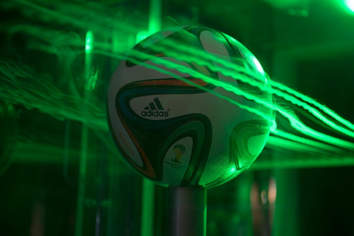 The Brazuca World Cup match ball being tested in a wind tunnel (Photo: NASA's Ames Research Center)