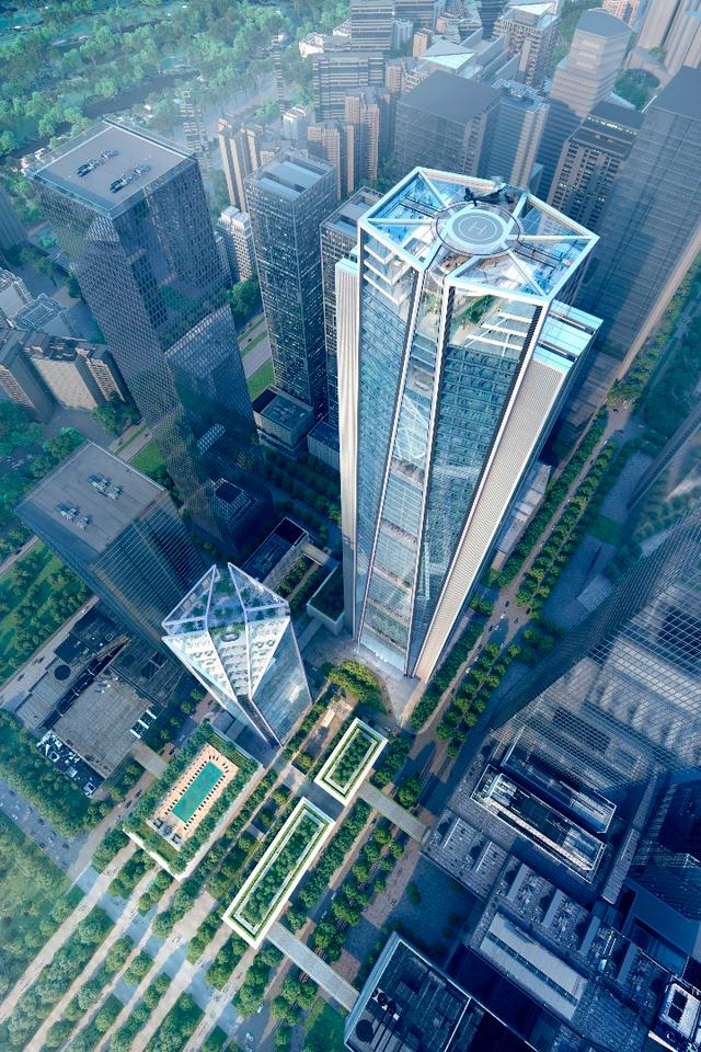 The China Merchants Bank HQ project will include a smaller tower reaching 180 m (590 ft)