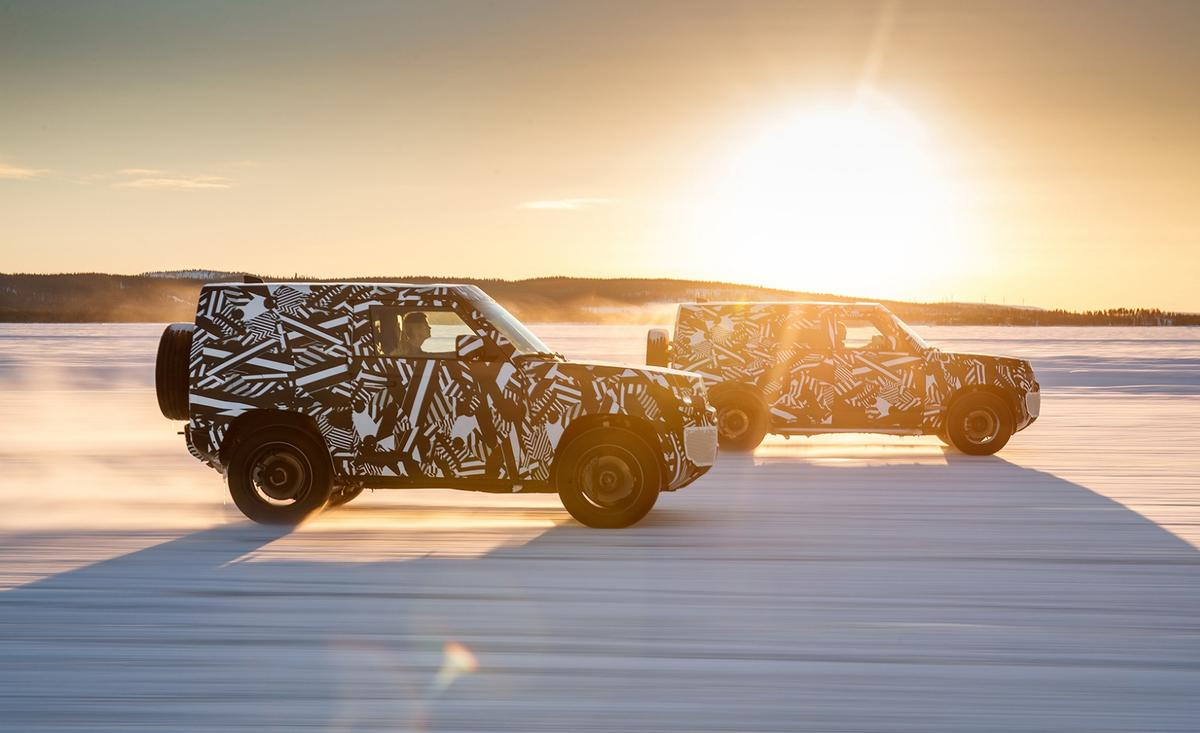 The prototype Land Rover Defender during trials in the Arctic