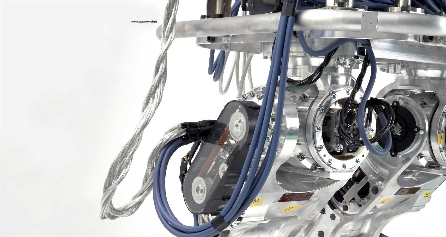 A close-up of Core's hip joints, with powerful actuators built specifically for the large robot (Photo: Wataru Umehara)