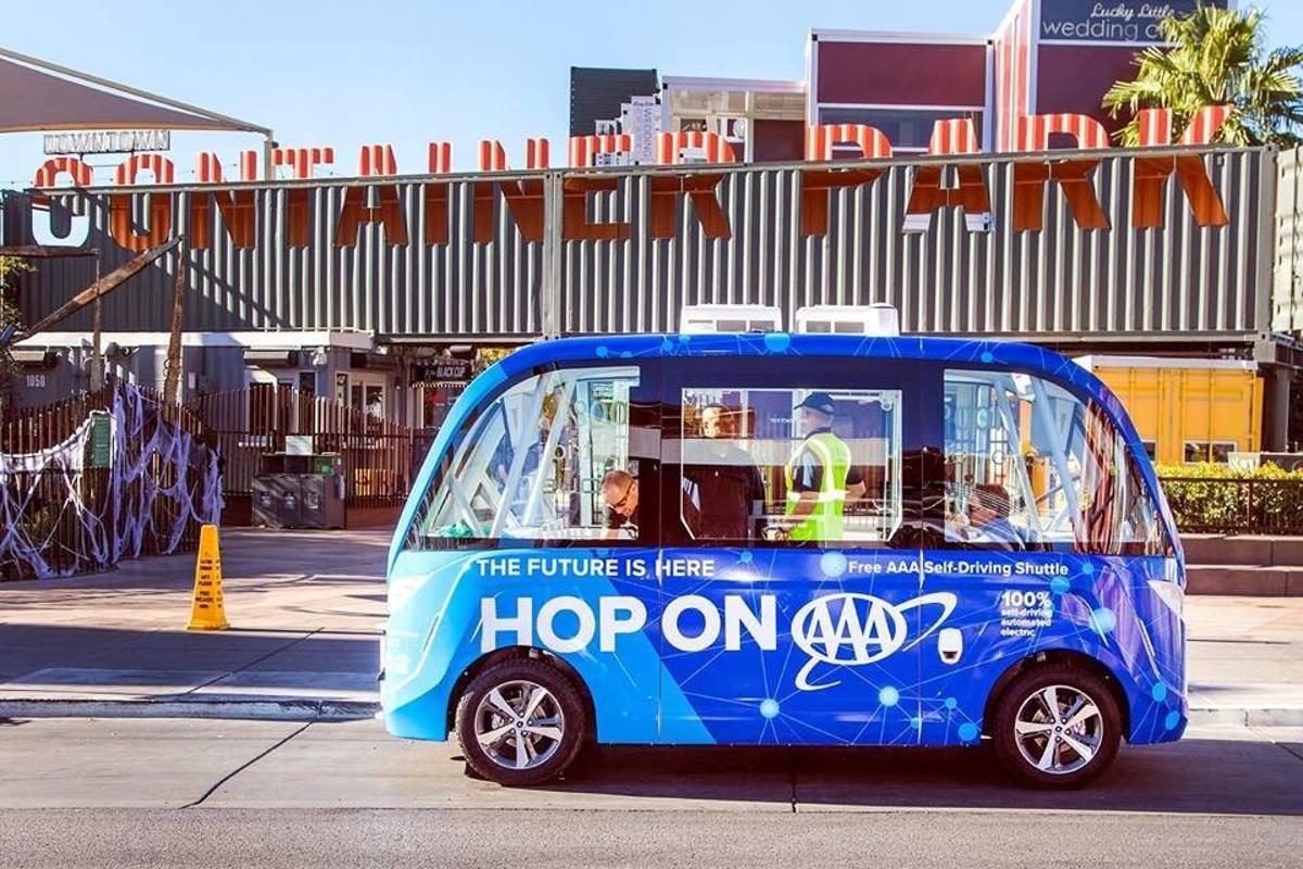 The Navya Arma self-driving electric shuttle bus can trundle along at up to 15 mph and carry up to eight passengers