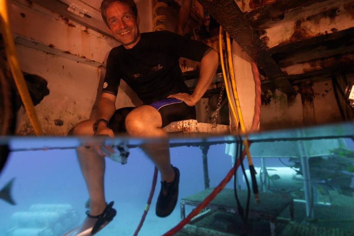 Fabien Cousteau in the porch of the Aquarius Reef Base (Image: Mission 31)