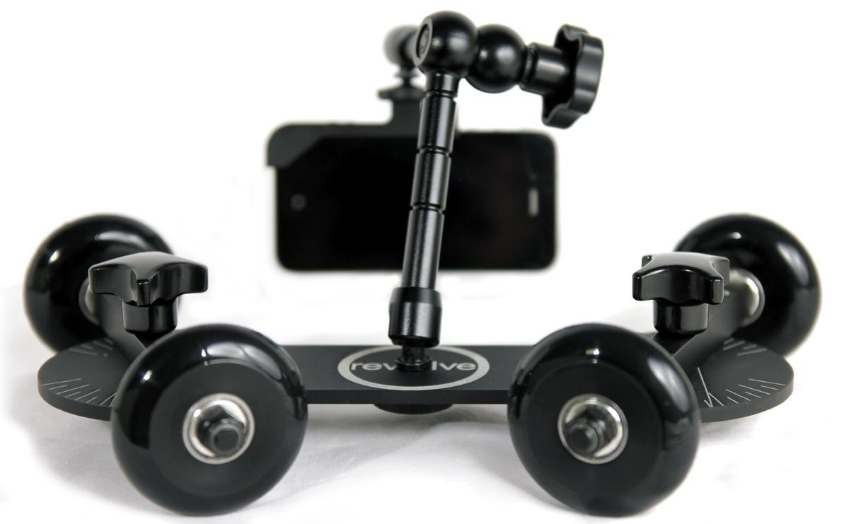 Friction arms can hold lights, monitors, a Glif iPhone mount, or other accessories