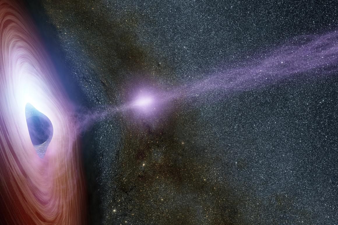 Artist's impression of an X-ray flare being emitted by a supermassive black hole