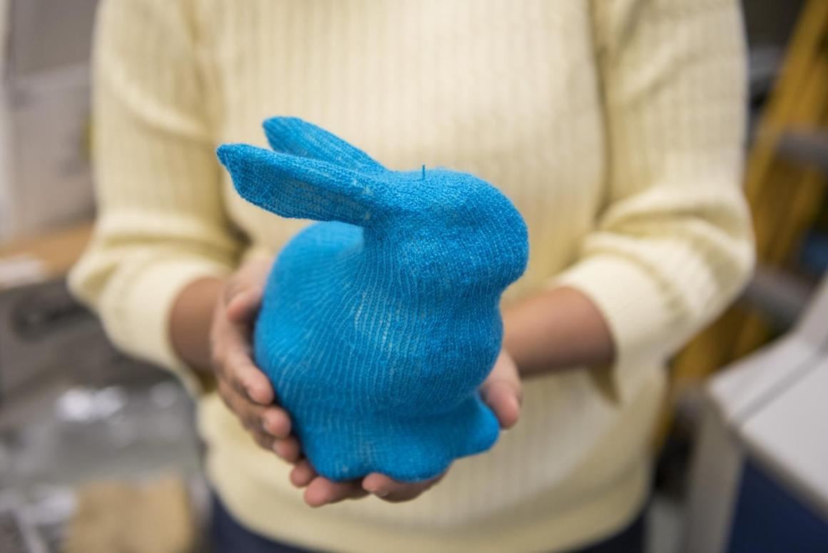 A knitted rabbit, created using the technology