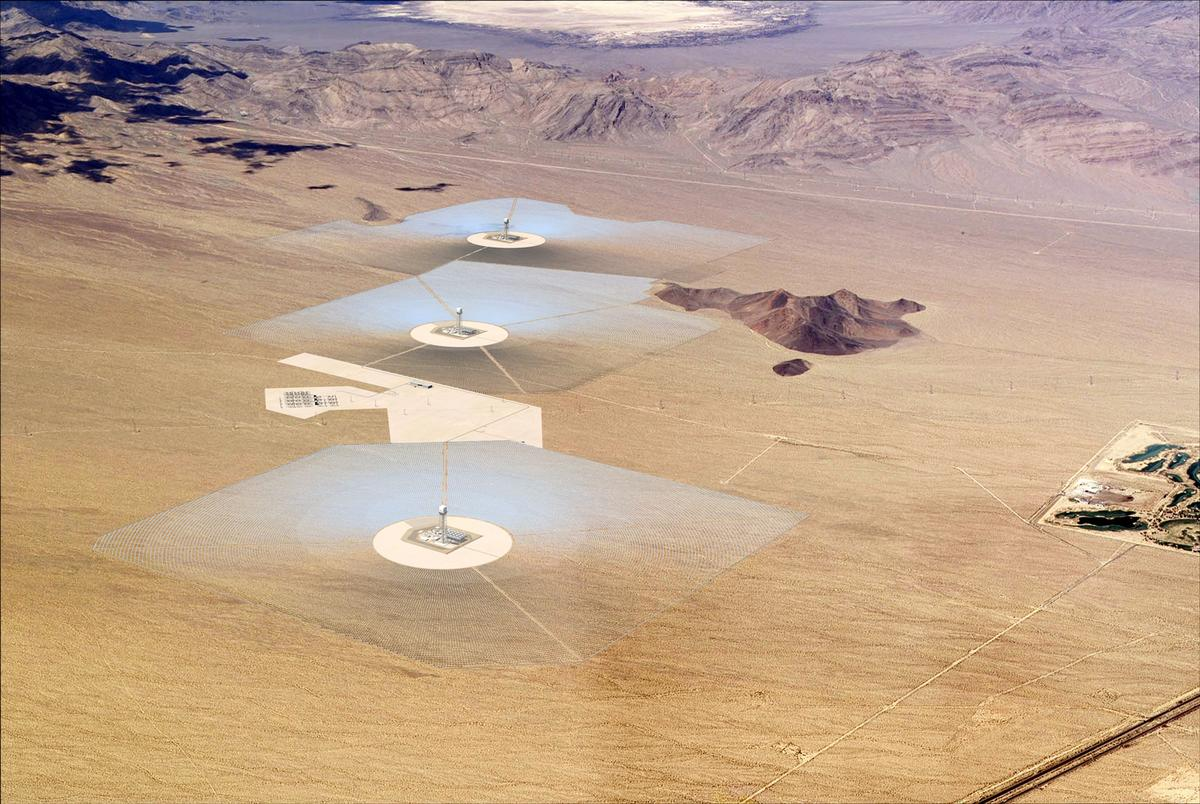 Model rendering of ISEGS, the world's largest solar power tower being built in California