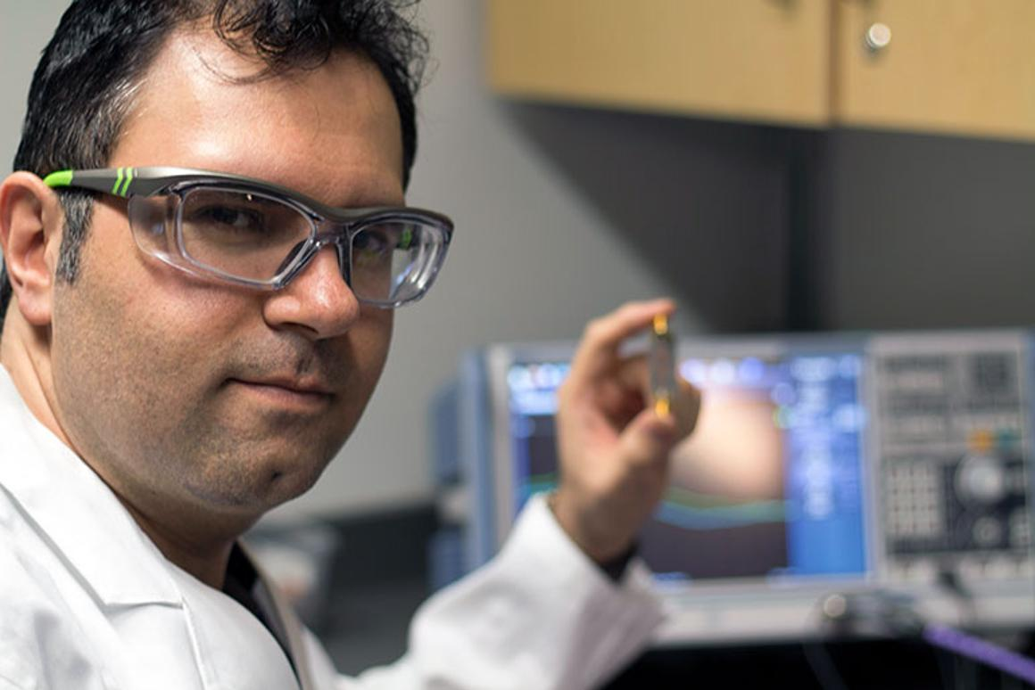 Asst. Prof. Mohammad Zarifi with the business end of the biosensor