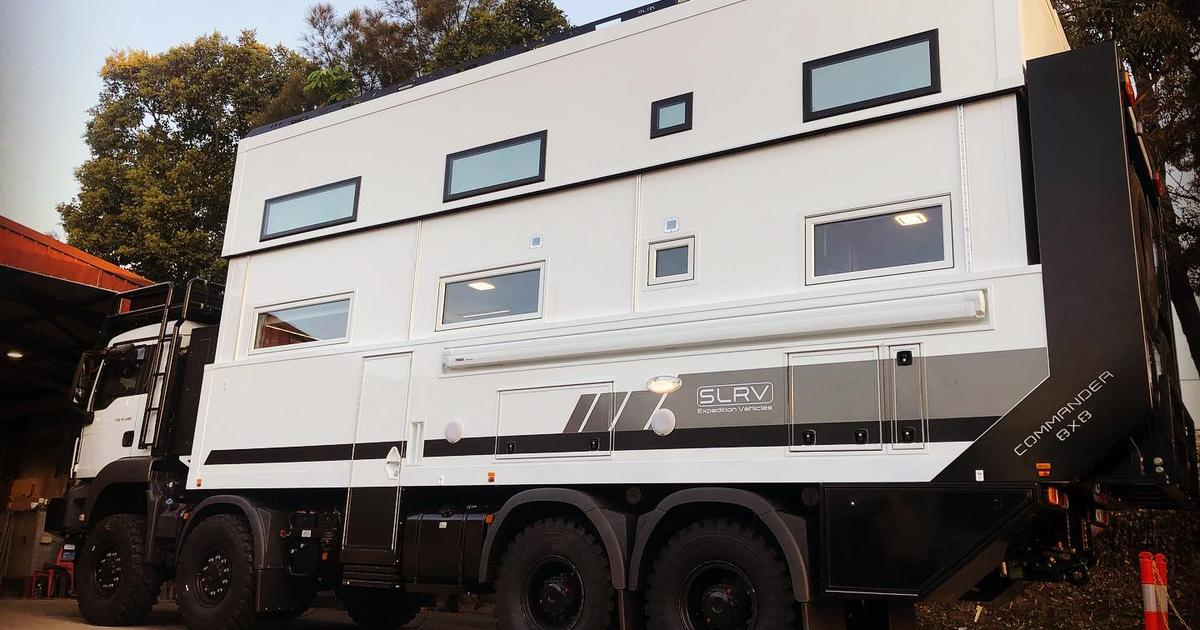 Two-story Commander 8x8 off-road motorhome ready to explore the globe