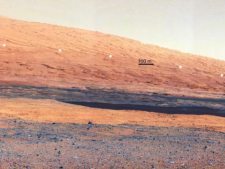 Image taken by the Mast Camera (MastCam) on NASA's Curiosity rover highlights the interesting geology of Mount Sharp (Image: NASA/JPL)