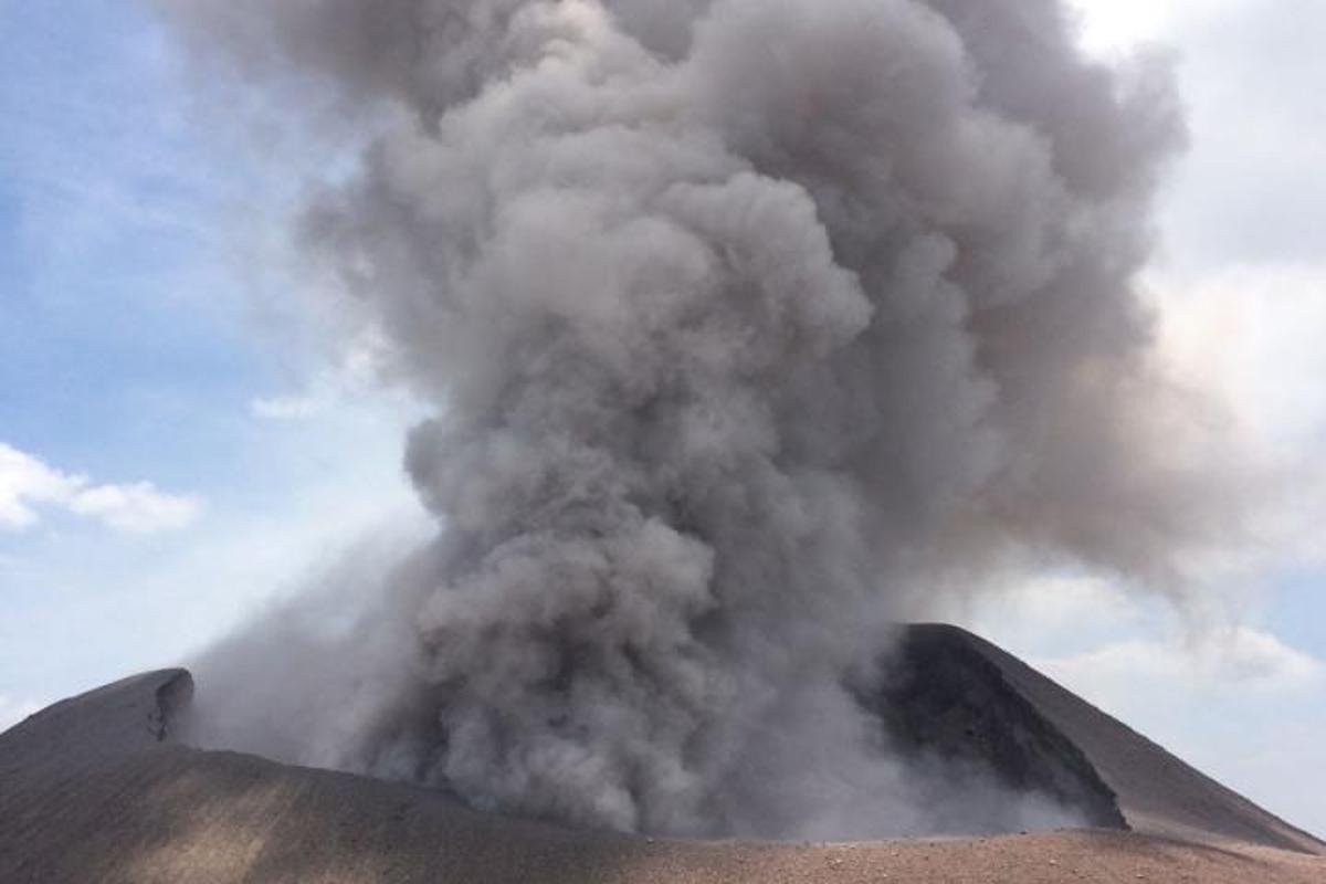 Tilca volcano in Nicaragua erupting