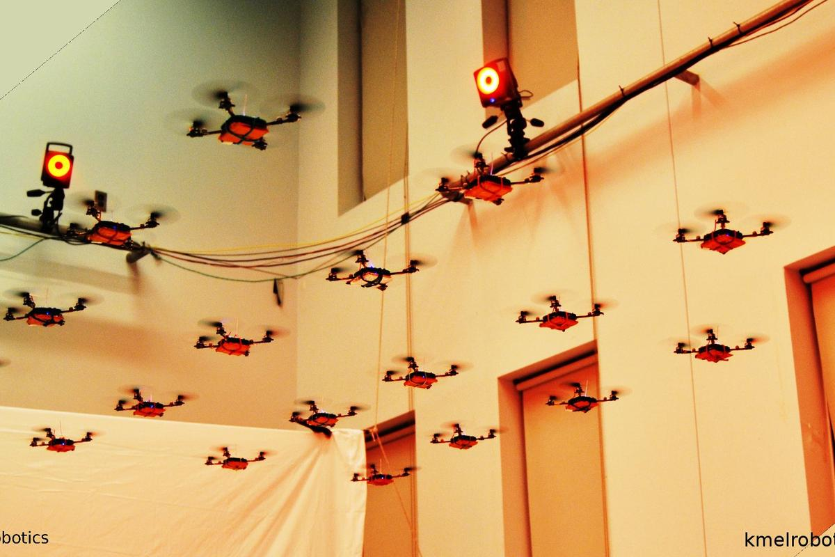 The autonomous squadron made up of 20 quadrotor robots from KMel Robotics (Photo: Kmel Robotics)