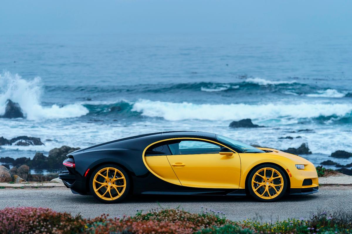 The yellow wheels help give this Chiron its unique bright look