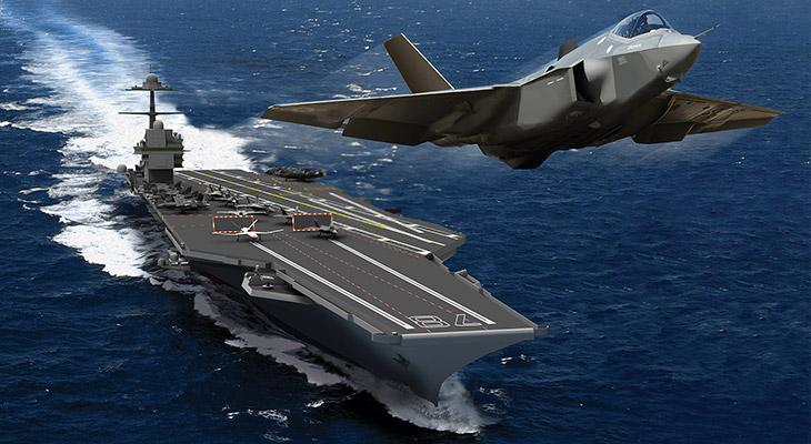Artist's concept of an F-35 launching from the Gerald R Ford