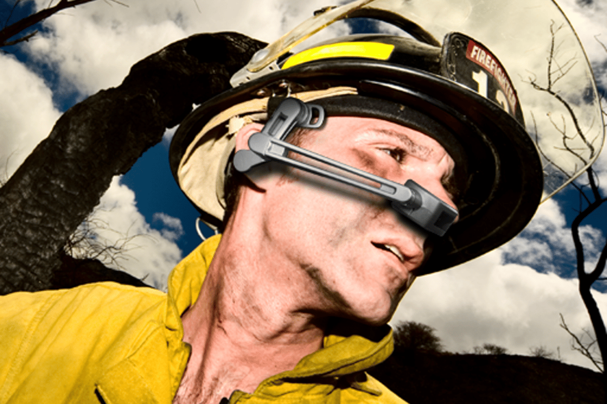 The Golden-i 3.8 headset is a wearable, hands free computer interfacing device for professionals and first responders