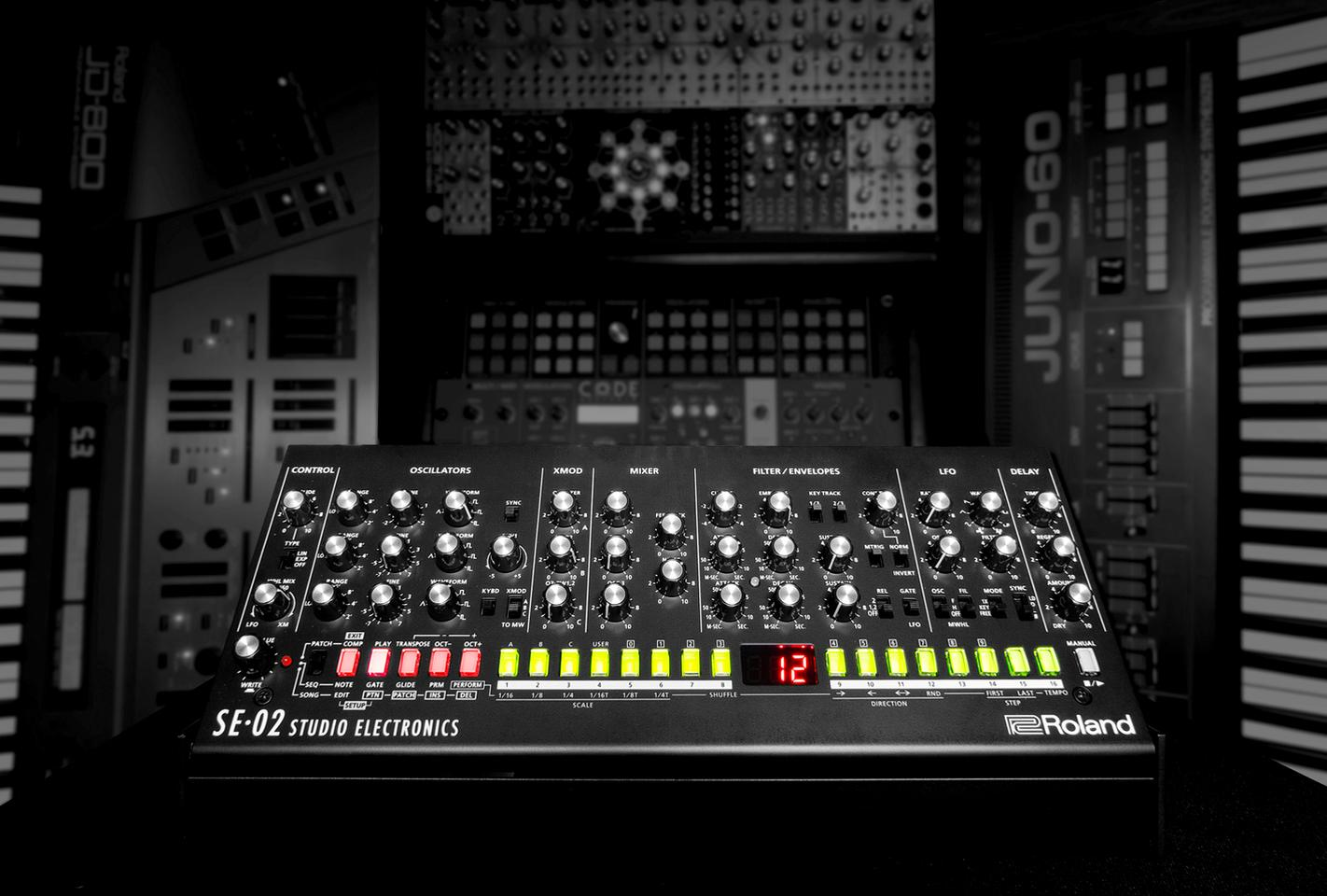 The monophonic SE-02 analog synth featuresthree voltage-controlled oscillators, a 24 dB low-pass filter and a dual gain-stage amplifier
